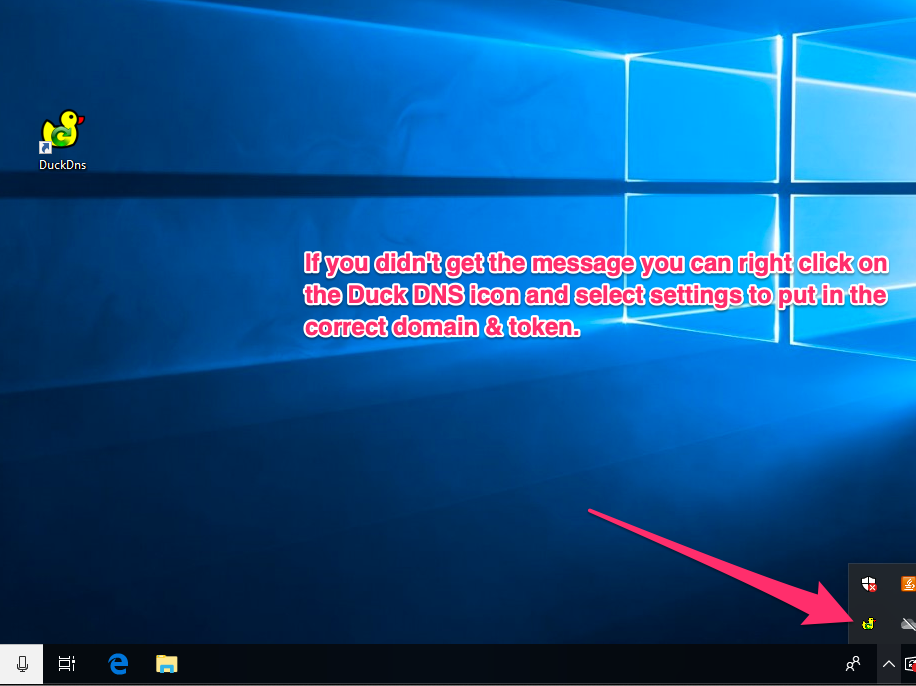 Duck DNS application in windows notification panel